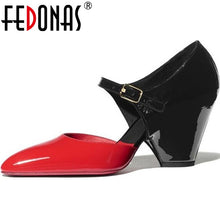 Load image into Gallery viewer, FEDONAS Sexy Spike Heels Pumps Genuine Leathder Metal Buckle Women Shoes 2020 Newest Summer Autumn Night Club Retro Shoes Woman