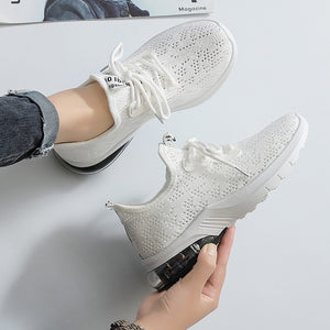 KATELVADI Women Air Cushion Sneakers 2020 Fashion Casual Shoes Summer Breathable White Shoes Female Sneakers FL021