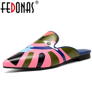 FEDONAS Fashion Women Flats Heels Spring Summer Shoes Prints Pointed Toe Party Shoes Woman Sexy Loafter Flats New Women Shoes