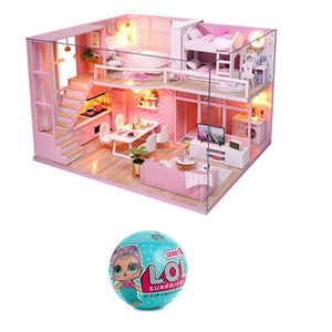 L.O.L.SURPRISE!  lol dolls Surprise toys Beautiful Hair Doll Generation DIY Doll House Furniture 3D Wooden kids Birthday Gifts