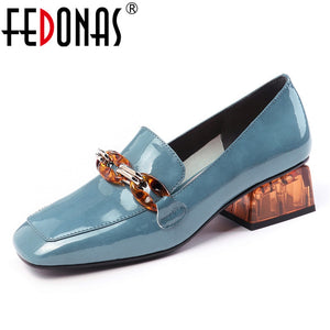 FEDONAS Fashion Women Pumps Spring Summer Chain High Heels Party Shoes Woman Genuine Leather Female Brand Prom Shoes Loafers
