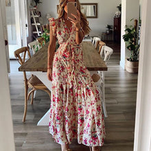 Load image into Gallery viewer, V-neck Casual Women's Wrap Dress 2020 Summer Floral Maxi Dresses For Women Sleeveless Ruffle Dress Wedding Party femme robe D30
