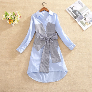 Woman Dress Plaid Patchwork A-line Dress Bow Bodycon Vestidos Office Lady Long Sleeve Turn-down Collar Button Dresses