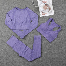 Load image into Gallery viewer, Women Seamless Sports Suits Fitness Yoga Set Gym Workout Clothing Long Sleeve Crop Top Shirts High Waist Running Leggings pants