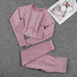 Women Seamless Sports Suits Fitness Yoga Set Gym Workout Clothing Long Sleeve Crop Top Shirts High Waist Running Leggings pants