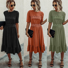 Load image into Gallery viewer, Women Casual Soild Color A-line Dress Summer Fashion Half Sleeve Mid-Calf Lace Stithing Dress Elegant Round Neck 2XL Dress D30