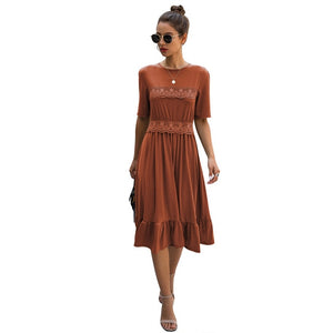 Women Casual Soild Color A-line Dress Summer Fashion Half Sleeve Mid-Calf Lace Stithing Dress Elegant Round Neck 2XL Dress D30