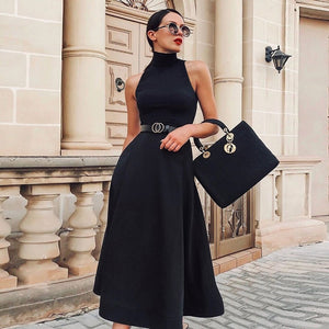 Sale High Quality Elegant Black Dress Women Vintage Ladies Fit Flare Prom Party Night Formal Dress 2020 Retro Dresses Winter D30