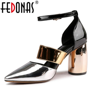 FEDONAS Fashion Patent Leather Women Pumps 2021 Summer New Sandals Pointed Toe High Heels Night Club Shoes Woman Party Shoes