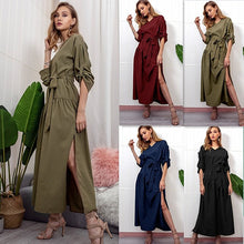 Load image into Gallery viewer, Sale Women Sexy Long Shirt Dress Office Ladies Casual Work Elegant Dresses V Neck Long Sleeve Side Split Blouse Maxi Dress D30