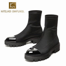 Load image into Gallery viewer, KATELVADI Autumn Winter Boots Black Stretch Fabric Ankle Boots Non Slip Rubber Outsole Fashion Chelsea Shoes  K-489