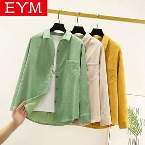 Simple Corduroy Shirt Women New Autumn Solid Color Blouses and Tops Ladies Long Sleeve Loose Preppy Style Casual Shirt