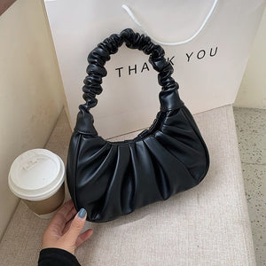 Folds Design Small PU Leather Shoulder Bags For Women 2020 Elegant Handbags Female Travel Totes Lady Fashion Hand Bag