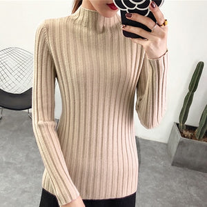 shintimes Women Sweater 2020 Casual Turtleneck Knitted Sweater Winter Female Pullover Woman Sweaters Long Sleeve Womens Clothing