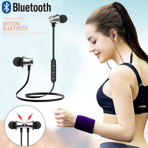 S8 Bluetooth Earphone Sports Neckband Magnetic Wireless Earphones Stereo Earbuds Music Metal Headphones With Mic For All Phones