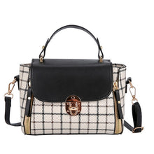 Load image into Gallery viewer, Women's Patchwork Bags Ladies Korean Shoulder Crossbody Bag Female Handbag Girl PU Lather Hasp Plaid Beach Bag Torebka Fashion