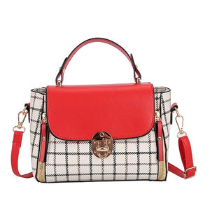 Women's Patchwork Bags Ladies Korean Shoulder Crossbody Bag Female Handbag Girl PU Lather Hasp Plaid Beach Bag Torebka Fashion