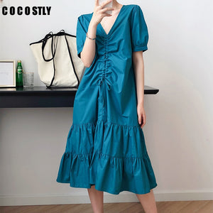 Vintage Casual Summer Dress V-Neck Drawstring Ruffles All-Match Sweet Short Sleeves bodycon Long Dress robe femme