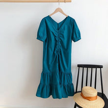 Load image into Gallery viewer, Vintage Casual Summer Dress V-Neck Drawstring Ruffles All-Match Sweet Short Sleeves bodycon Long Dress robe femme