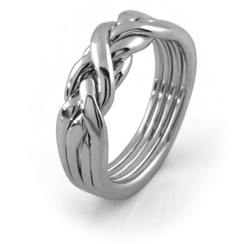 White Gold 4RG Puzzle Ring