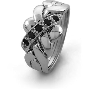 Black Diamond Puzzle Rings