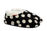Archline Orthotic Slippers Closed – Black with White Polkadots