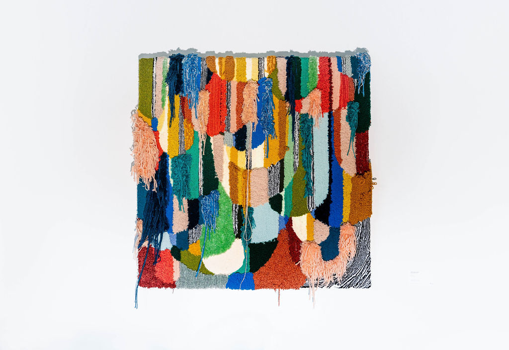 Trish Andersen tufted fine art Seeing Clearly mixed yarn