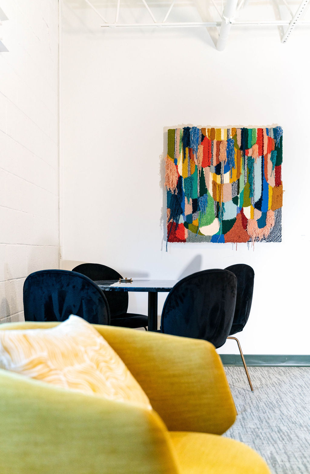 Trish Andersen Seeing Clearly tufted fiber art in commercial space
