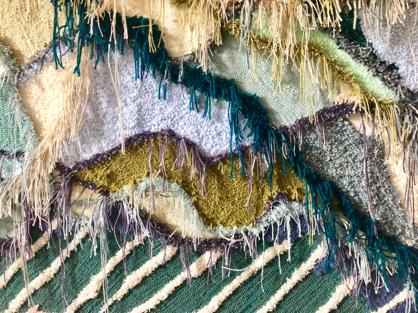 Trish Andersen studio large scale fiber art tufting close up landscape