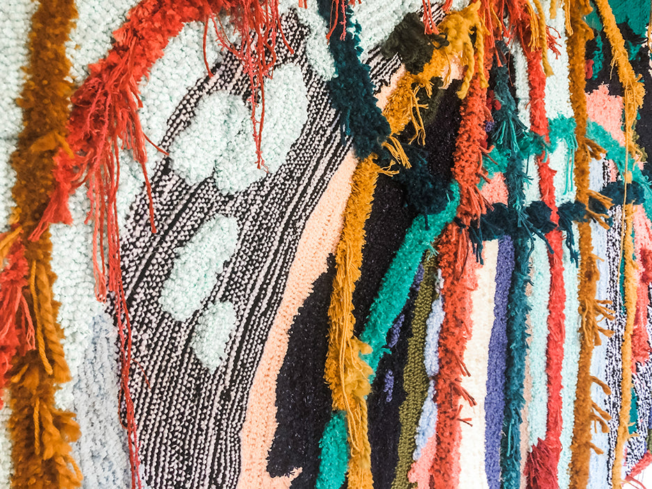 Trish Andersen tufted fiber art commission detail mixed yarn fine art