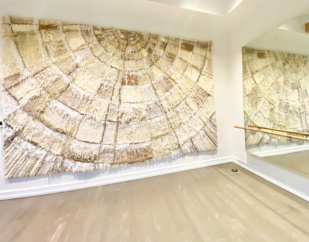 Trish Andersen large scale fiber art in yoga studio