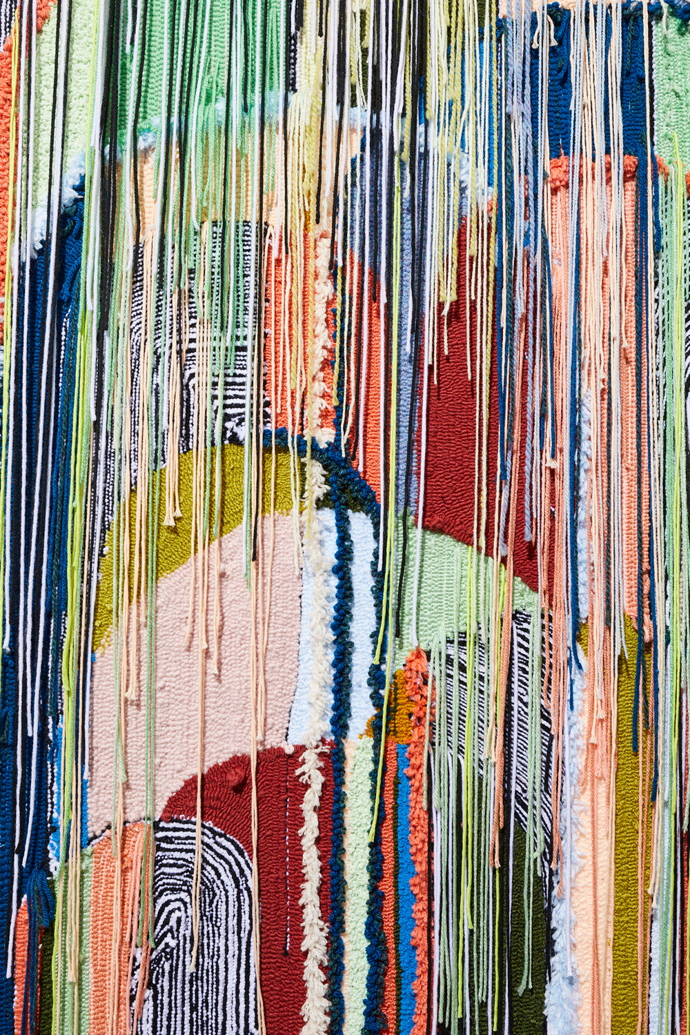 detail of The way in, Tufted fiber art by Trish Andersen