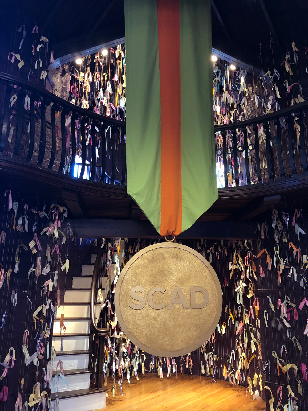 Trish Andersen SCAD fiber art ribbon and chain installation