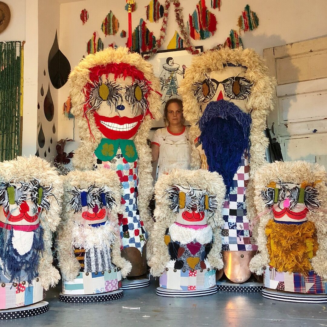 Trish Andersen , giant knock down dolls, fiber art, soft sculpture