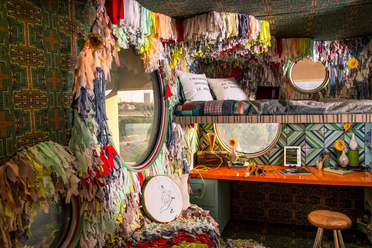 Trish Andersen SCAD pad tiny home fiber art and wood installation