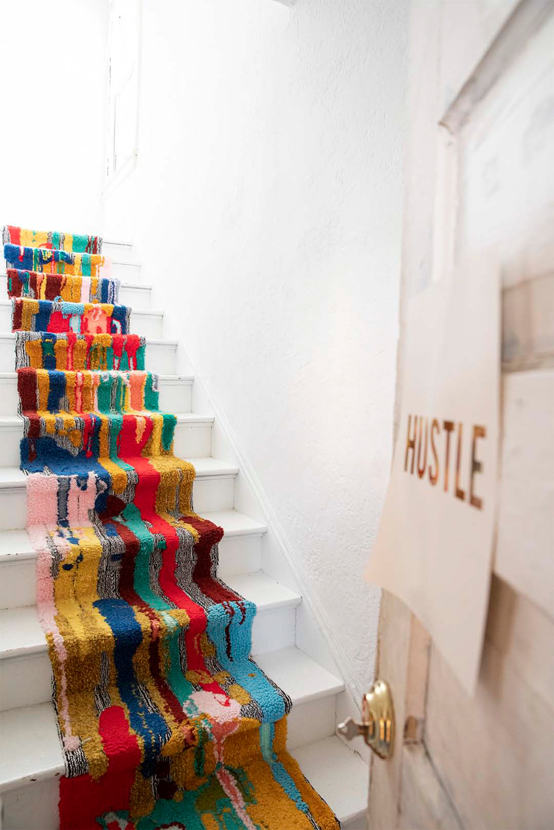 Trish Andersen , rainbow runner, installation art, custom tufted stair runner