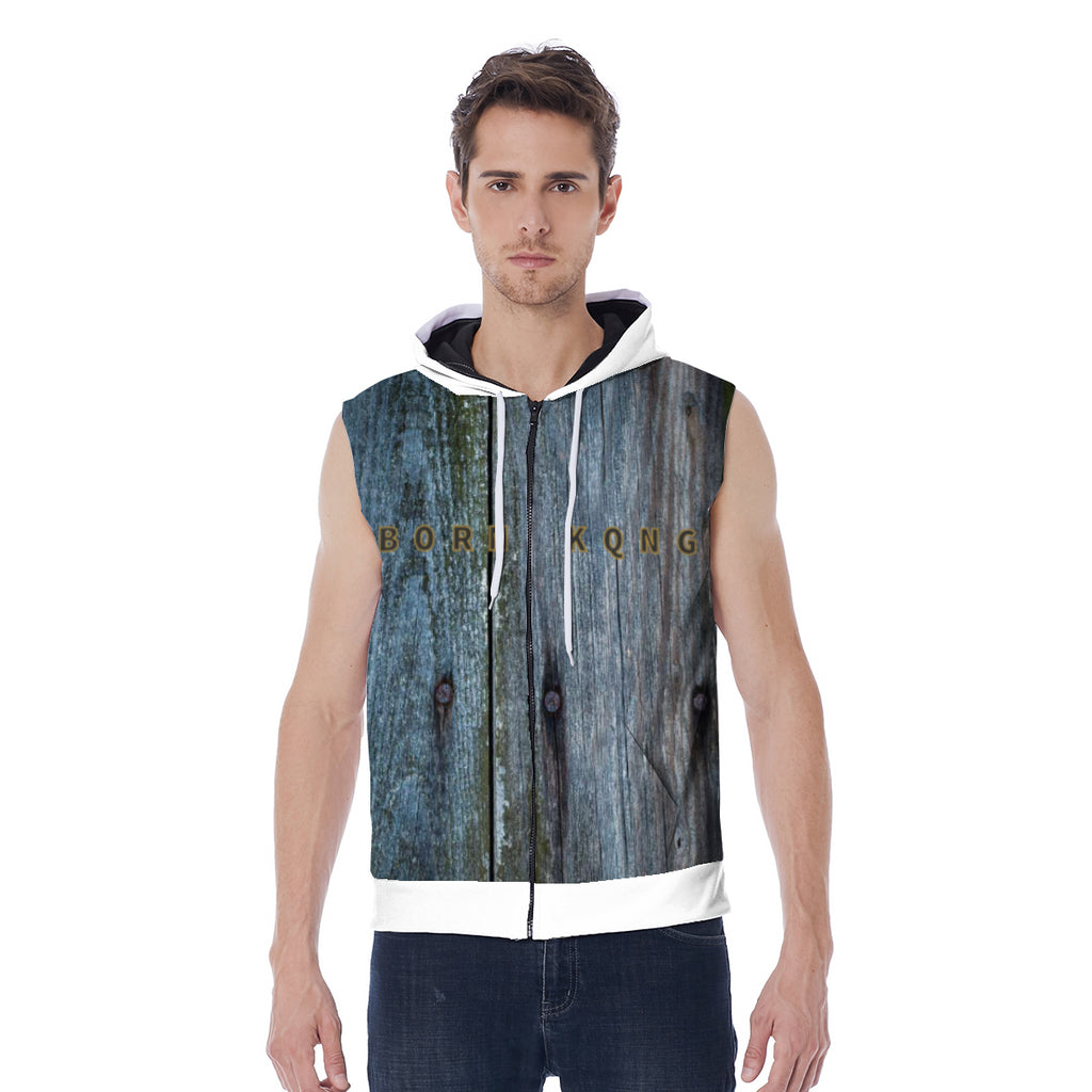KQROWN'D APPAREL - LOGO EDITION - MEN'S SLEEVELESS HOODIE (WOOD/WHITE)