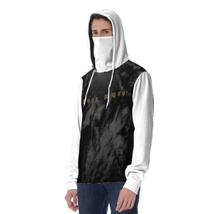 KQROWN'D APPAREL - LOGO EDITION - MEN'S MASKED HOODIE (BLACK SMOKE/WHITE)