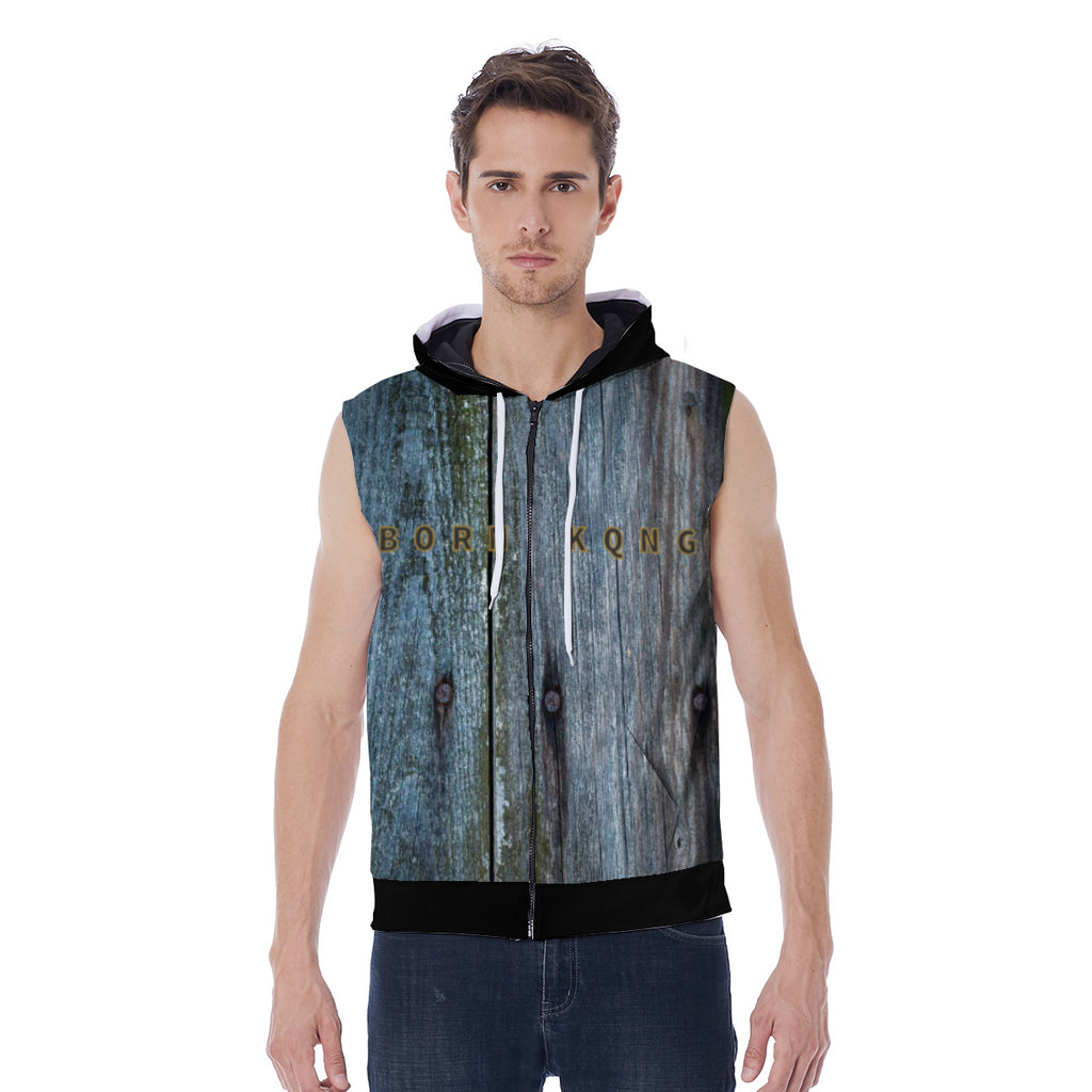 KQROWN'D APPAREL - LOGO EDITION - MEN'S SLEEVELESS HOODIE (WOOD/BLACK)