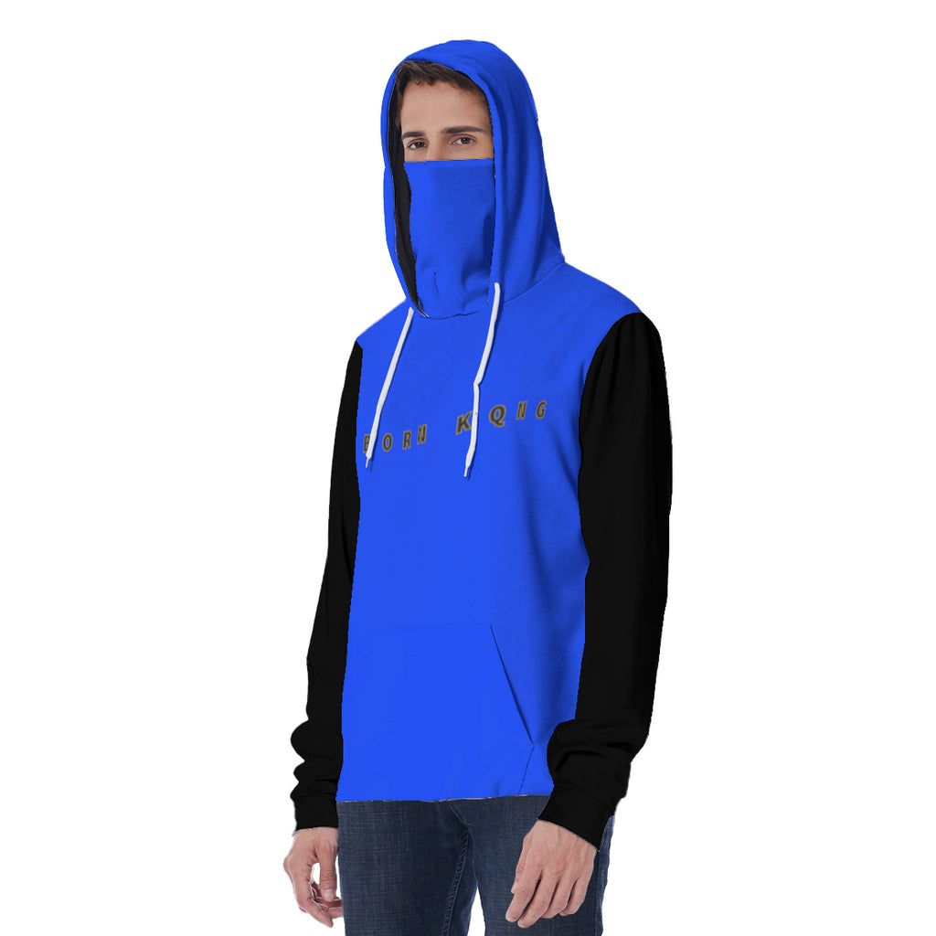 KQROWN'D APPAREL - LOGO EDITION - MEN'S MASKED HOODIE (BLUE/BLACK)