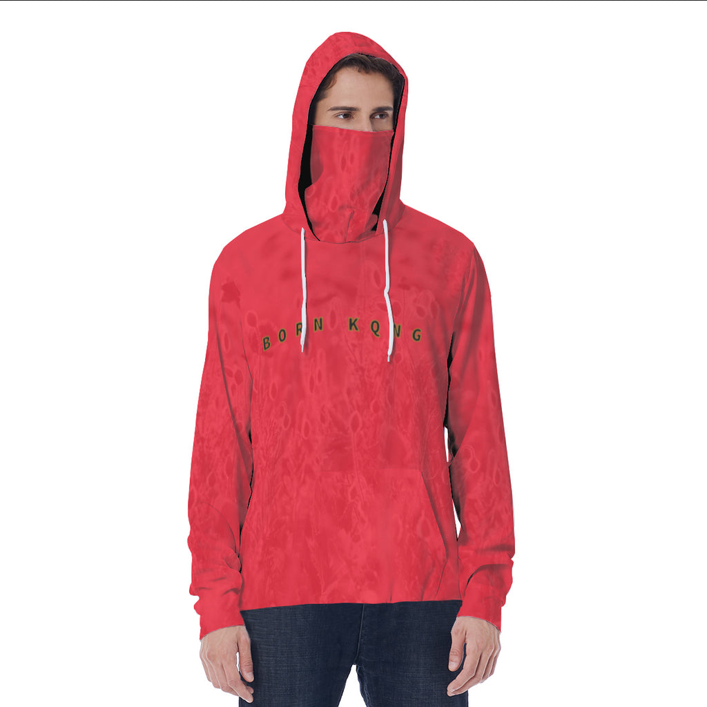 KQROWN'D APPAREL - LOGO EDITION - MEN'S HOODIE W/ MASK (RED FIELDS)