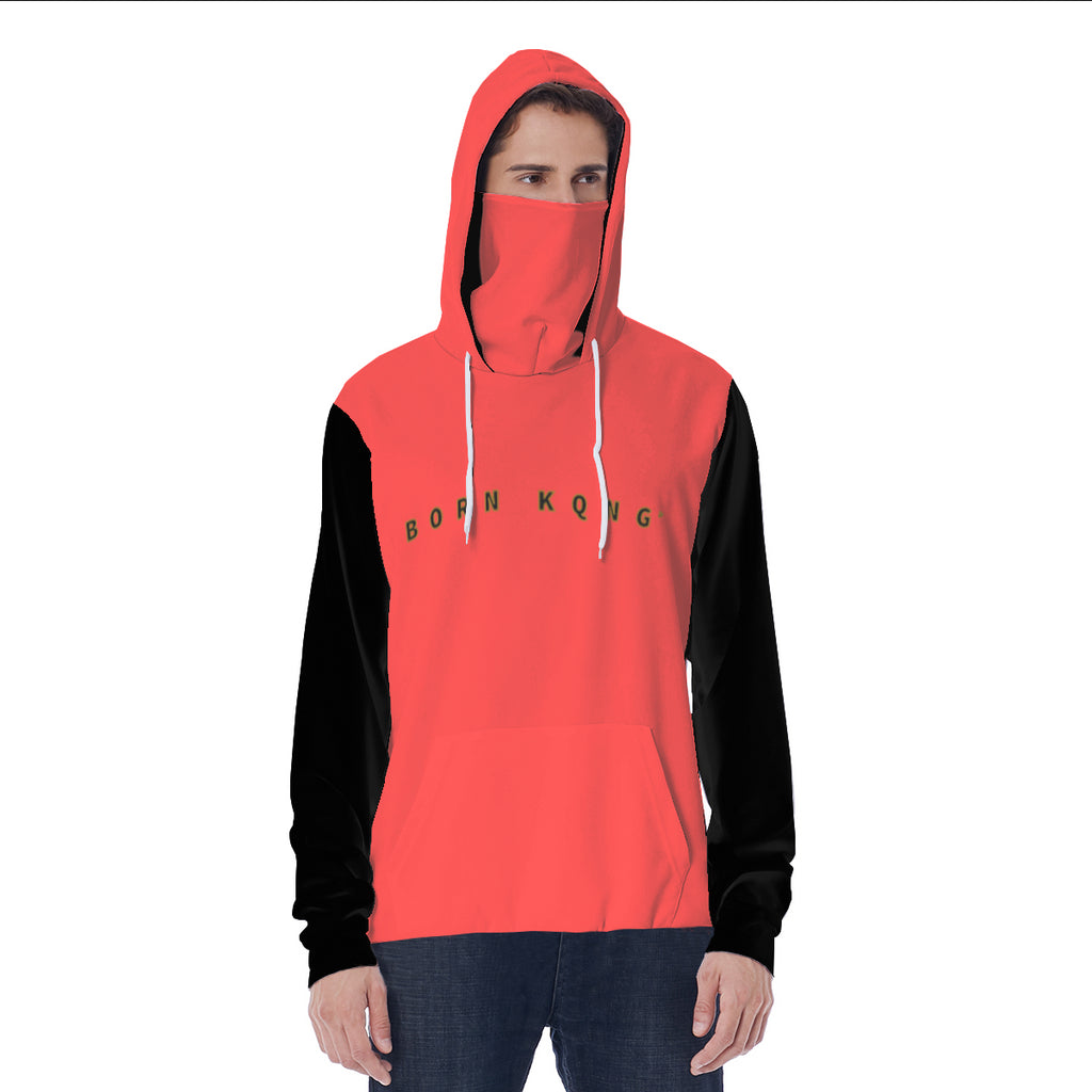 KQROWN'D APPAREL - LOGO EDITION - MEN'S MASKED HOODIE (RED/BLACK)