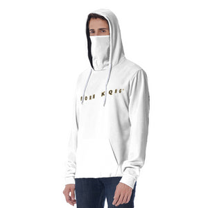 KQROWN'D APPAREL - LOGO EDITION - MEN'S MASKED HOODIE (WHITE)
