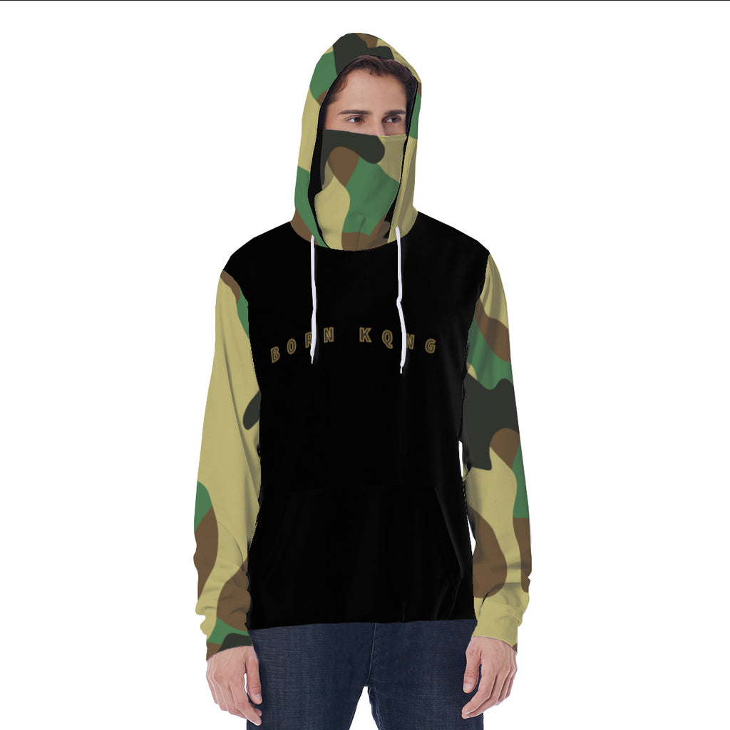 KQROWN'D APPAREL - LOGO EDITION - MEN'S MASKED HOODIE (BLACK/CAMO)