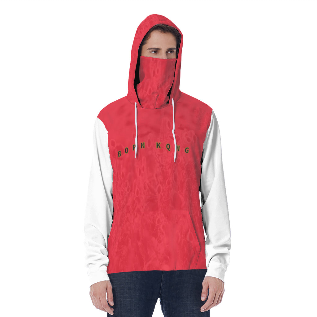 KQROWN'D APPAREL - LOGO EDITION - MEN'S HOODIE W/ MASK (RED FIELDS/WHITE)