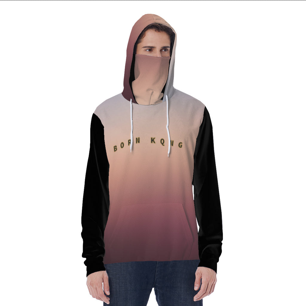 KQROWN'D APPAREL - LOGO EDITION - MEN'S MASKED HOODIE (OMBRE/BLACK)
