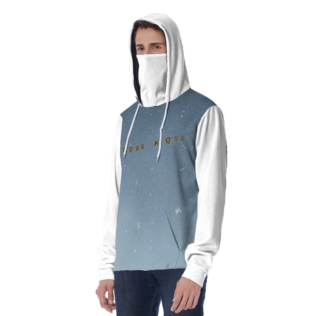 KQROWN'D APPAREL - LOGO EDITION - MEN'S HOODIE W/ WHITE MASK (NIGHTFALL/WHITE)