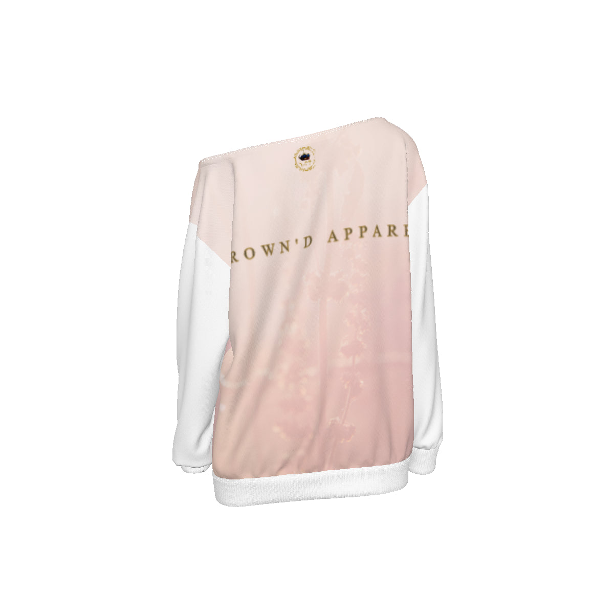 KQROWN'D APPAREL - LOGO EDITION - WOMEN'S OFF SHOULDER SWEATER (PINK FIELD/WHITE)