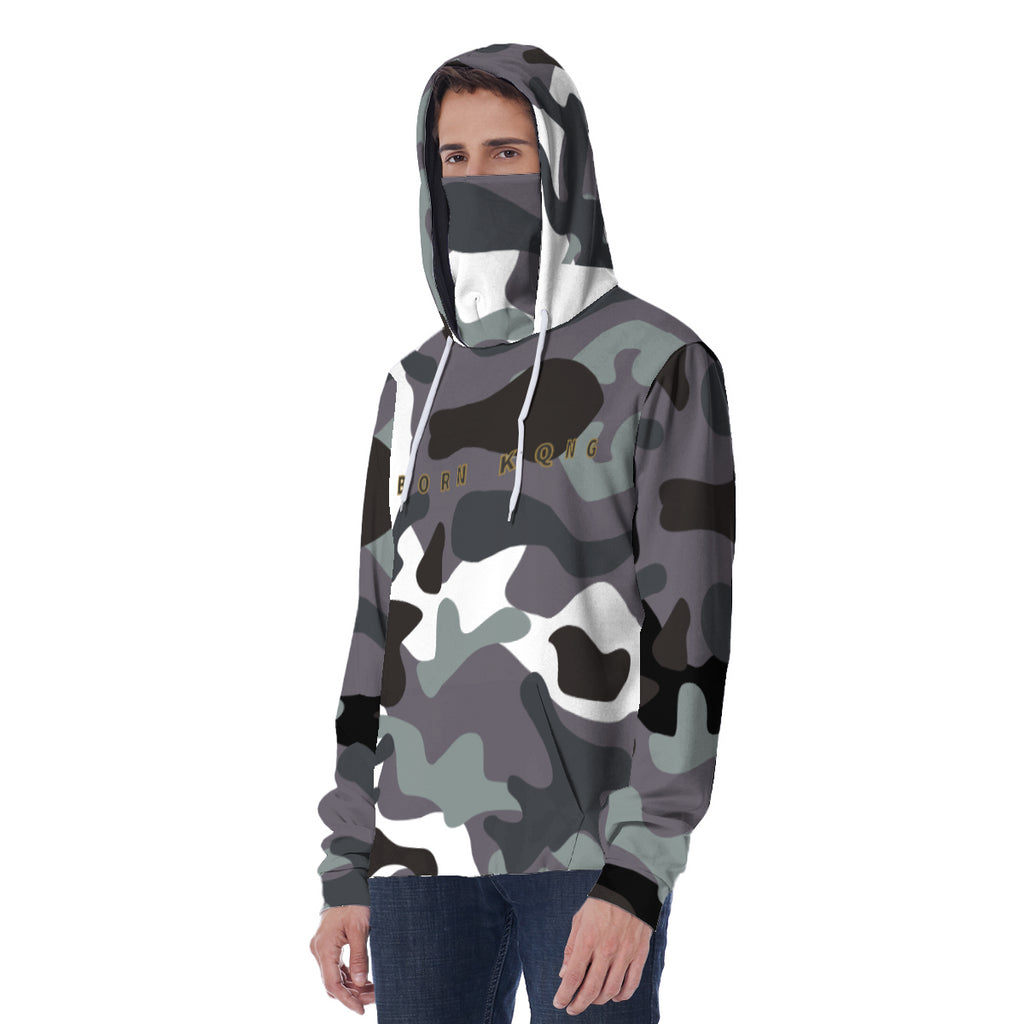 KQROWN'D APPAREL - LOGO EDITION - MEN'S MASKED HOODIE (GRAY FATIGUE)
