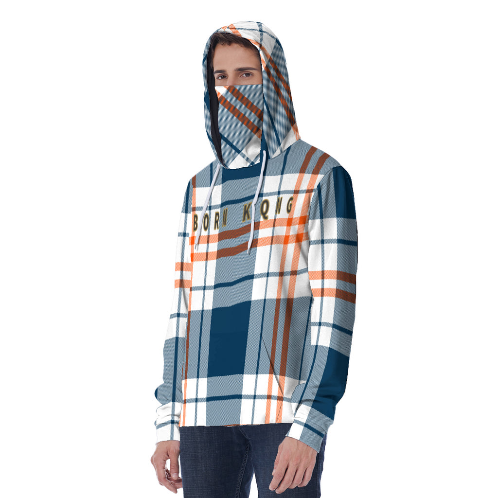 KQROWN'D APPAREL - LOGO EDITION - MEN'S HOODIE W/ MASK (BLUE PLAID)